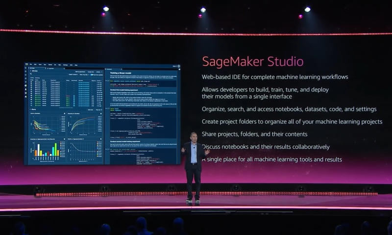 AWS CEO Andy Jassy introduces SageMaker Studio on-stage at
