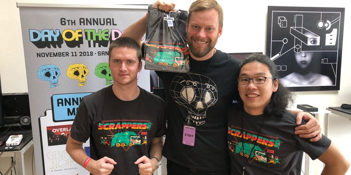 Greg Rice (center) with developers from