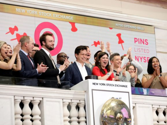 Pinterest cofounders Ben Silbermann and Evan Sharp at the New York Stock Exchange (NYSE) in 2019. REUTERS/Brendan McDermid