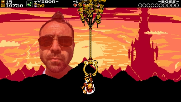 Shovel Knight's director, Sean Velasco, looks upon his creation.