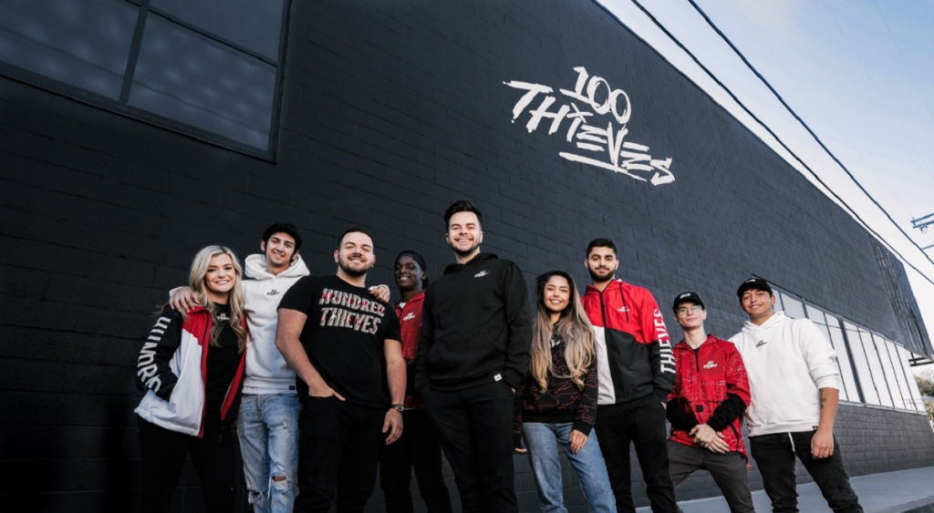 "100 Thieves Content Creators (Left to Right): Brooke ""BrookeAB"" Bond, Yan ""Classify"" Shalomov, Jack ""CouRage"" Dunlop, Brandon ""Avalanche"" Thomas, Matthew ""Nadeshot"" Haag, Rachell ""Valkyrae"" Hofstetter, Mohammad ""Yassuo"" Abdalrhman, Erind ""Froste"" Puka Joseph ""Mako"" Kelsey"
