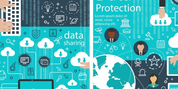 Data protection poster of internet digital innovations for web cloud information transfer. Vector cloud network system or file storage for information security and data sharing privacy (Data protection poster of internet digital innovations for web cl