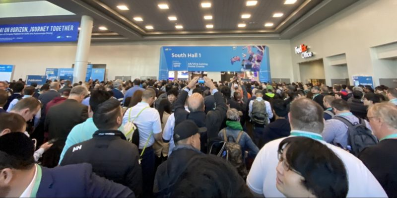 Crowds await entry to CES 2020.