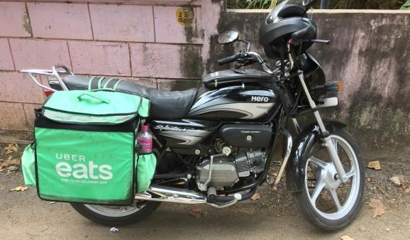 Uber Eats bag on a motorbike in Thrikkannapuram, Kerala, India. (Photo by Creative Touch Imaging Ltd./NurPhoto via Getty Images)