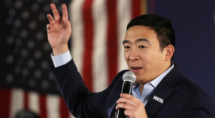 Democratic presidential candidate Andrew Yang speaks at at the Ideal Social Hall on January 30, 2020 in Cedar Rapids, Iowa