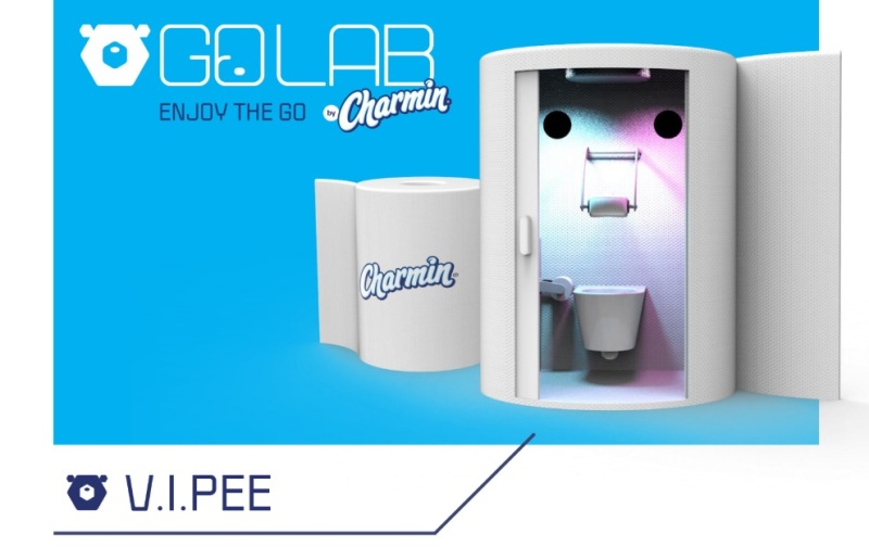 Charmin's V.I.Pee porta potty has a VR headset.