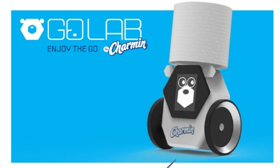 Charmin's RollBot brings you a roll when you need one.