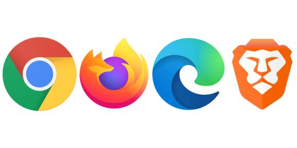 Chrome, Firefox, Edge, and Brave logos