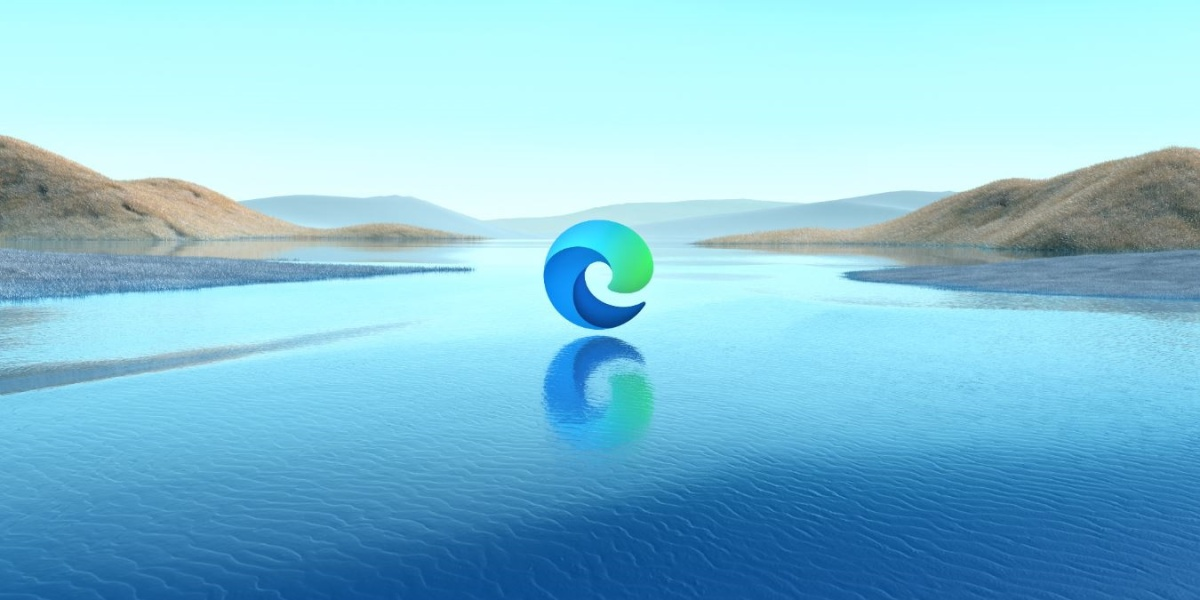 Chromium Edge logo on water