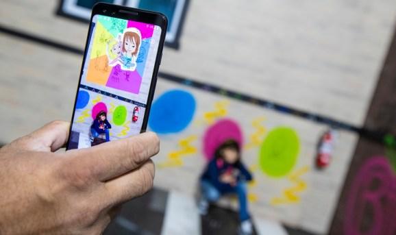 Mark uses augmented reality to display art.