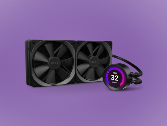 The NZXT Kraken Z-3 CPU cooler with an LCD display.