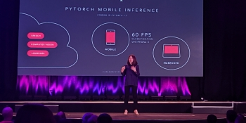 Facebook engineering director Lin Qiao onstage at PyTorch Dev Con 2019 in San Francisco, Calif.
