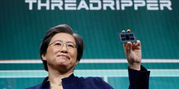 AMD's Lisa Su shows off the latest 64-core Threadripper processor.