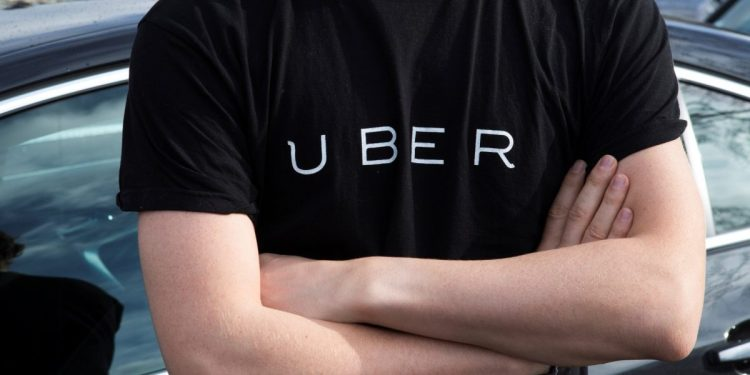 Man wearing an Uber t-shirt