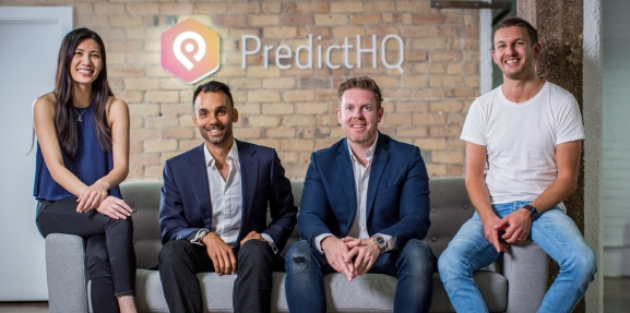 PredictHQ team: CEO Campbell Brown is second from right