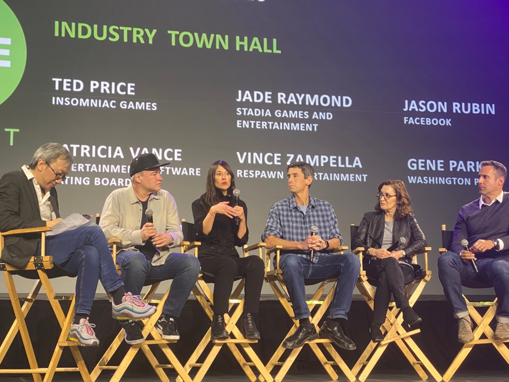 Leaders of gaming at Dice Summit. Jade Raymond of Google is speaking, and Jason Rubin of Facebook is on the far right.