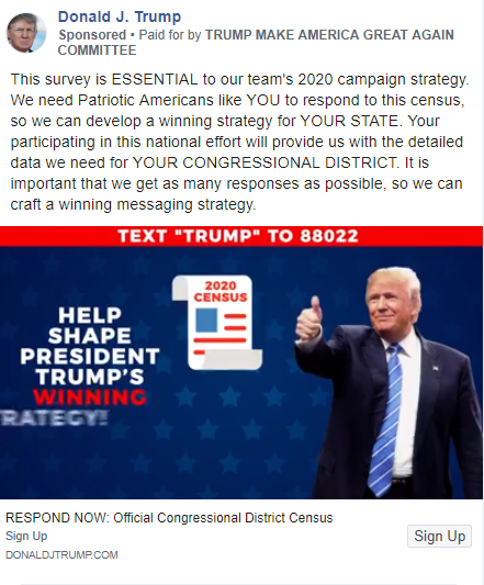 A Facebook ad from President Donald Trump's re-election campaign asks users to fill out a 'census'.