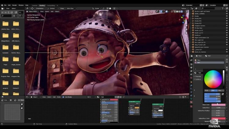 A GTC digital demo of RTX rendering blender.