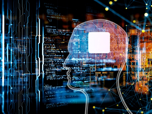 outline of a human head with a chip for a brain with code for an ML model in the background