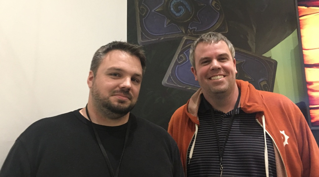 Hearthstone game director Ben Lee (left) and production director Nathan Lyons break down monetization and economics of Blizzard's card game.  Hearthstone is a platform now. What does that mean? Hearthstone Ben Lee and Nathan Lyons 1