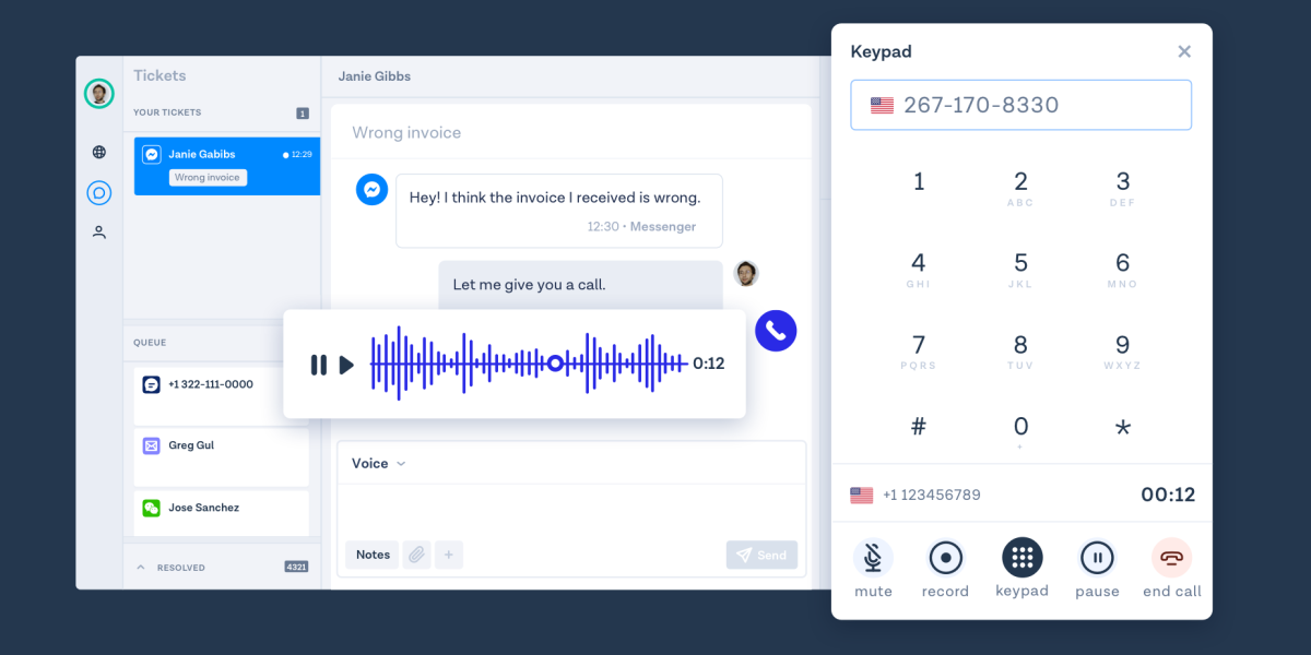 MessageBird's Inbox being used for a voice call