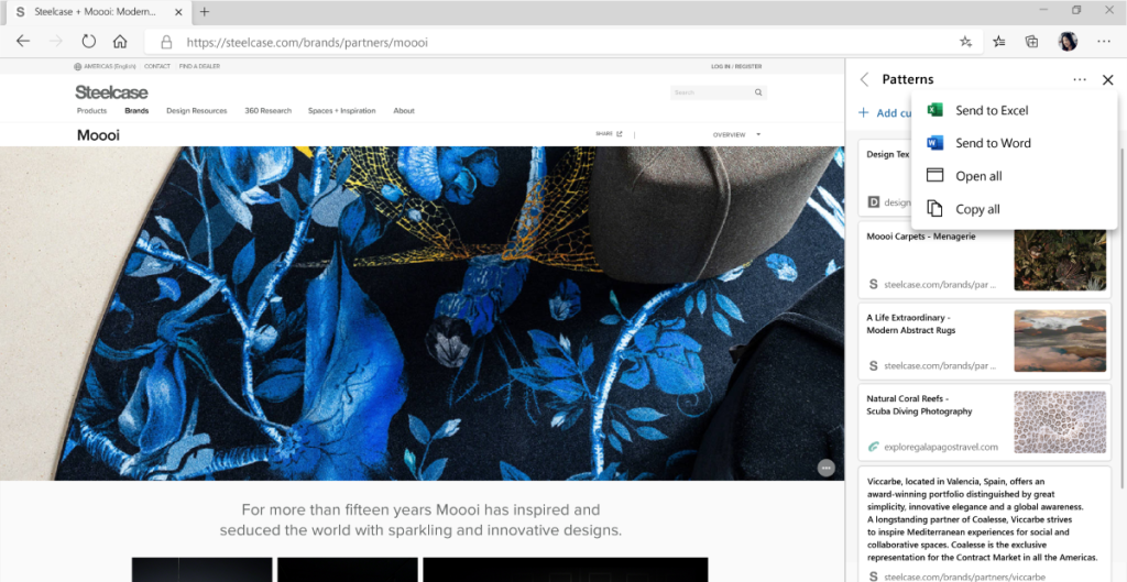 Edge Collections feature on desktop