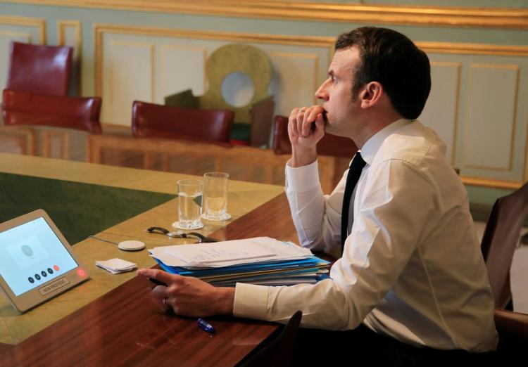 French President Emmanuel Macron as he prepared to address the nation.