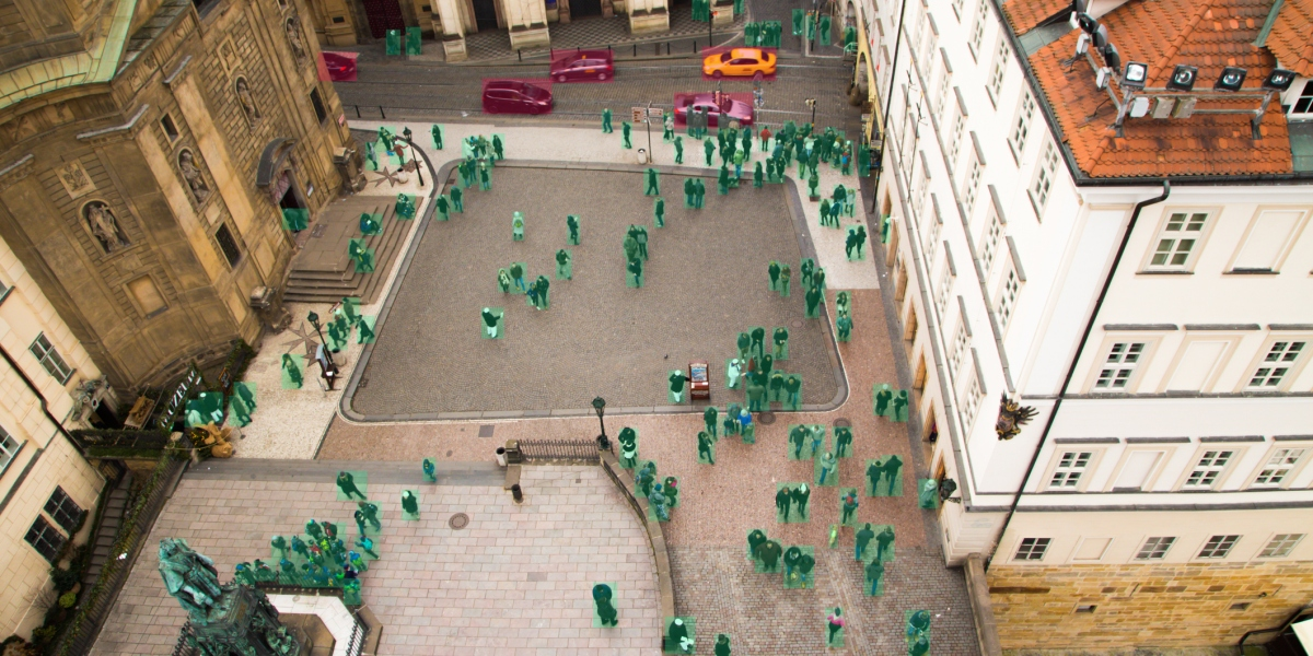 A city square, with humans mapped out in green