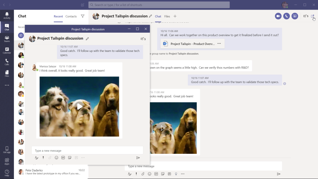 Microsoft Teams pop out chat