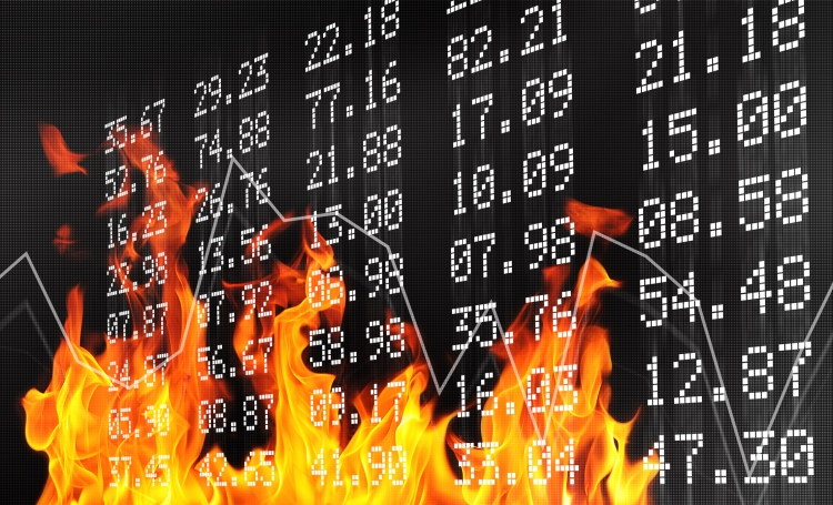 Flames crawling up stock exchange board