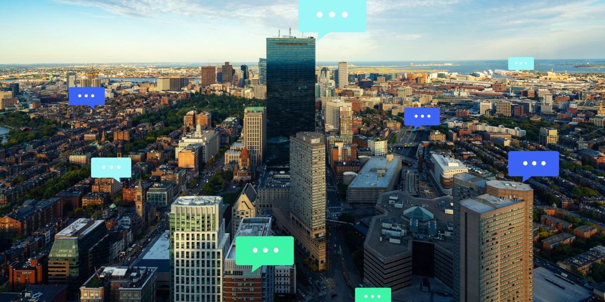 city skyline with conversation bubbles