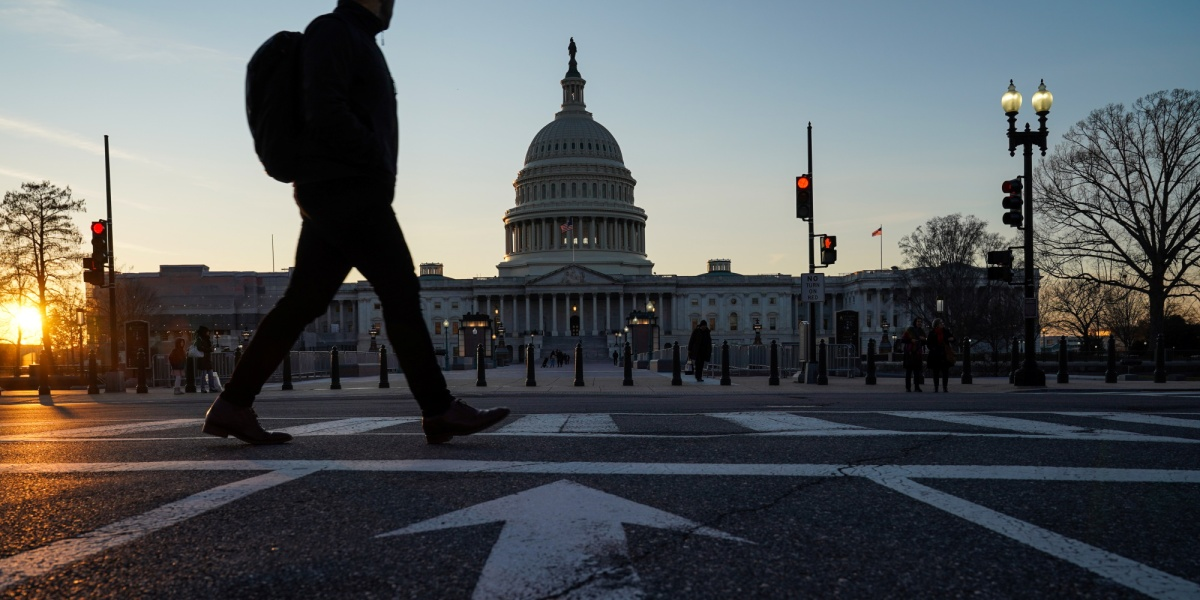 The U.S. Capitol building exterior is seen at sunset as members of the Senate participate in the first day of the impeachment trial of President Donald Trump in Washington