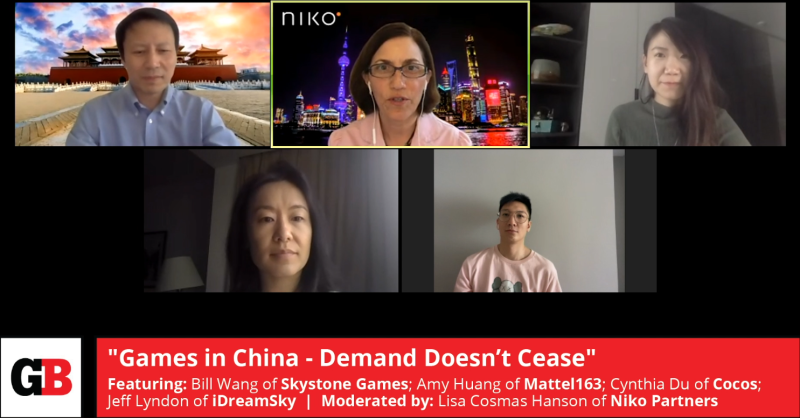 "Lisa Hanson hosts the ""Games in China: Demand Doesn't Cease"" panel at the GamesBeat Summit 2020 with Bill Wang of Skystone Games; Amy Huang of Mattel163; Cynthia Du of Cocos; Jeff Lyndon of iDreamSky."
