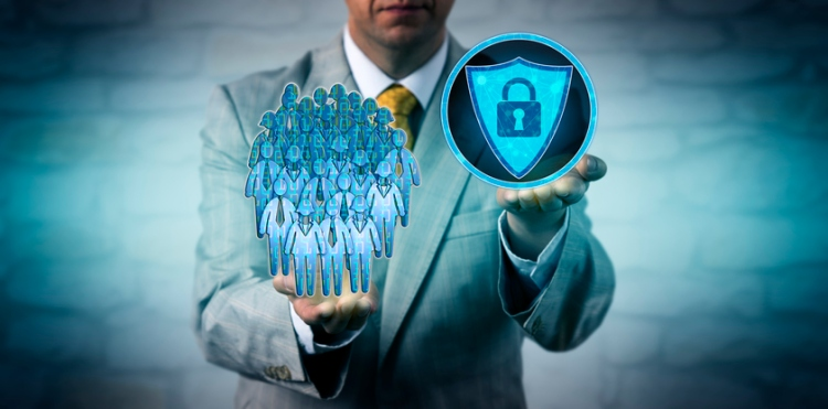 Unrecognizable corporate HR manager scanning workforce data with anti-malware application. Cybersecurity concept for anti-virus software, information integrity and privacy, population management.