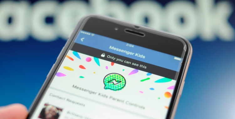 The Facebook Messenger application for kids is seen on a smartphone in this photo illusration on Decembner 4, 2017.
