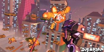 Swarm has you blasting baddies with Spider-Man-esque swinging.