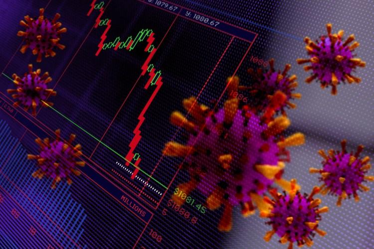 Financial Crash. Trading screen graphic and Corona virus shapes.