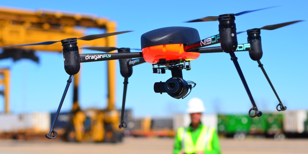 Draganfly drone at construction site