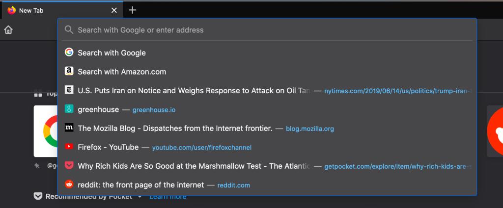 Firefox 75 top sites