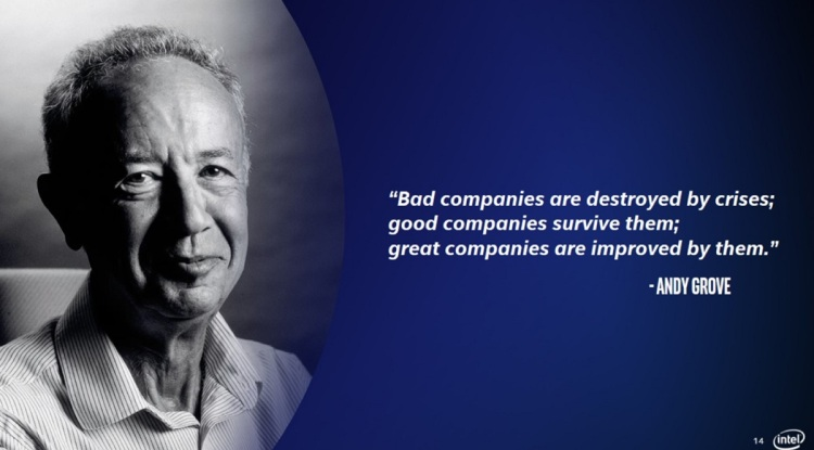 Intel's former CEO Andy Grove talked about crises' impact on companies.