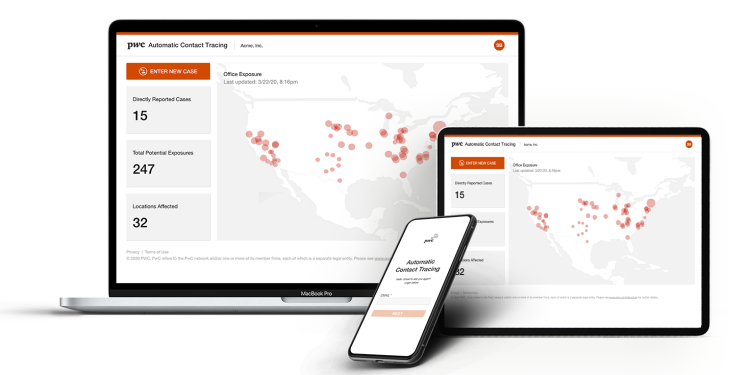 PricewaterhouseCoopers automated workplace contact tracing app
