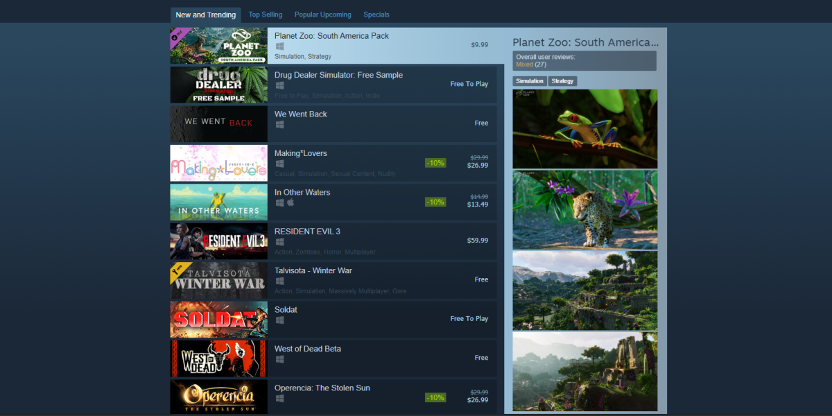 Top-selling games on Steam.
