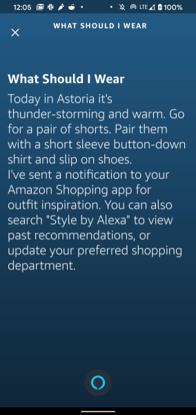 Amazon Alexa Style recommendations