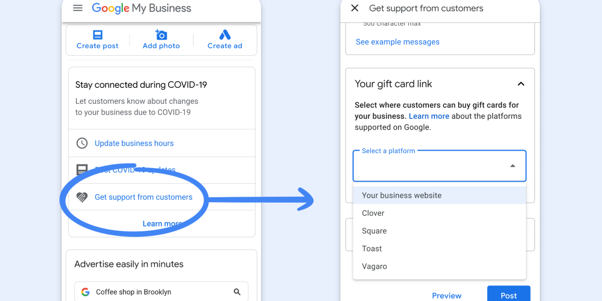 Google My Business: Adding support links in the merchants' dashboard
