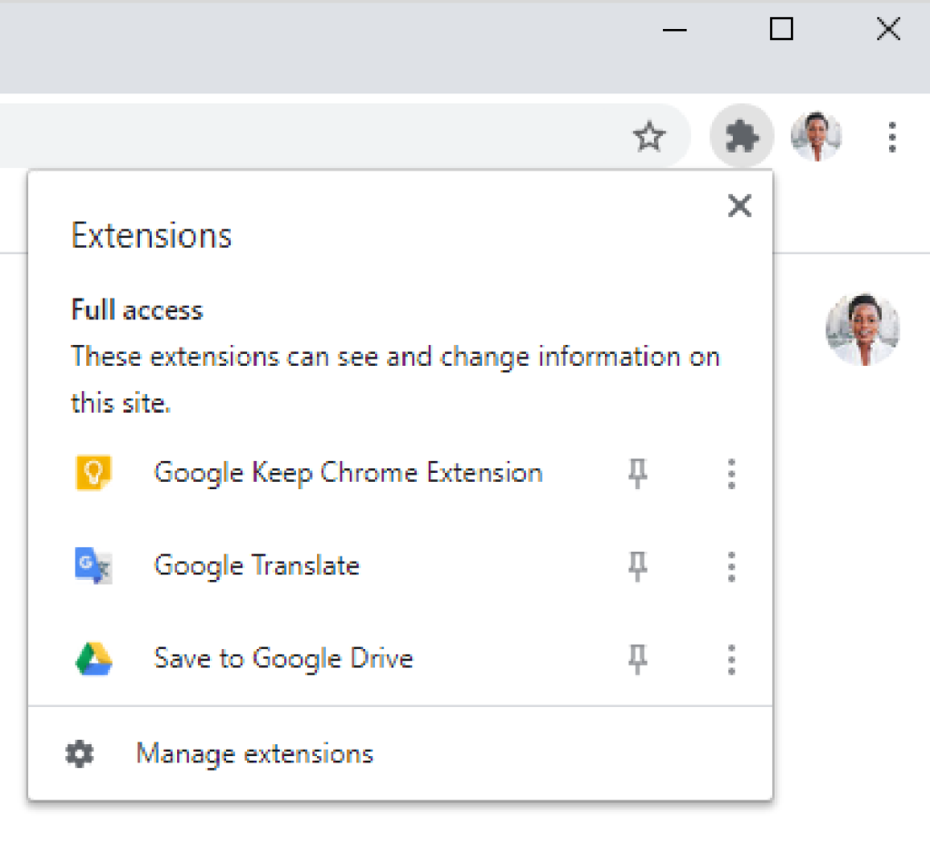 Chrome extensions icon