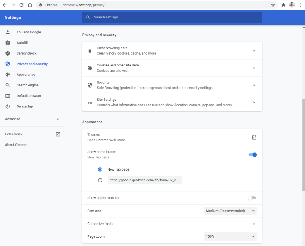 Chrome settings redesigned