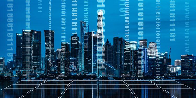 a city skyline partially made up of binary code