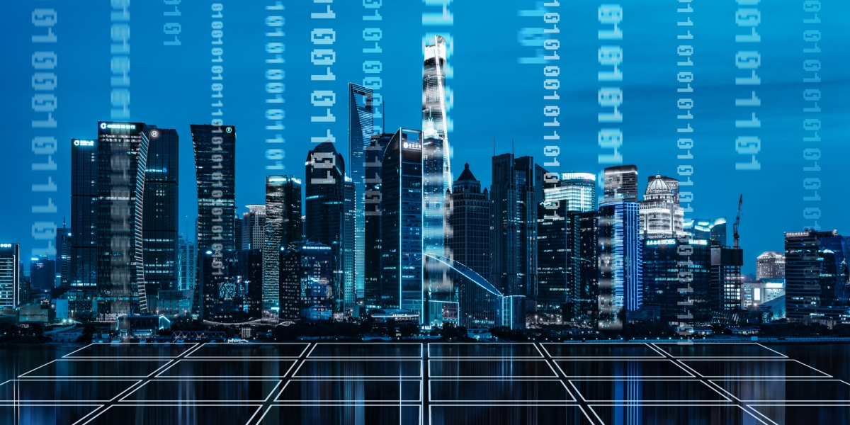 a city skyline partially made up of binary code