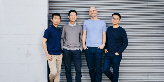 Covariant founders left to right: Rocky Duan, Tianhao Zhang, Pieter Abbeel, and Peter Chen
