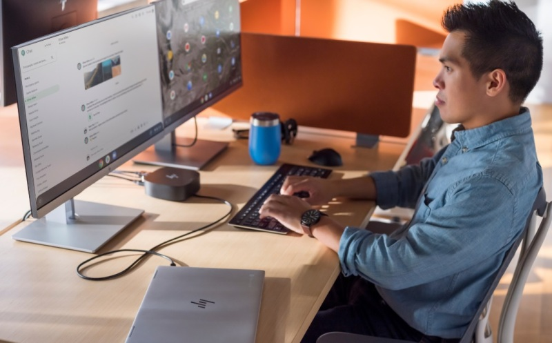 HP's Elite Chromebooks let you work on multi-screen monitors.